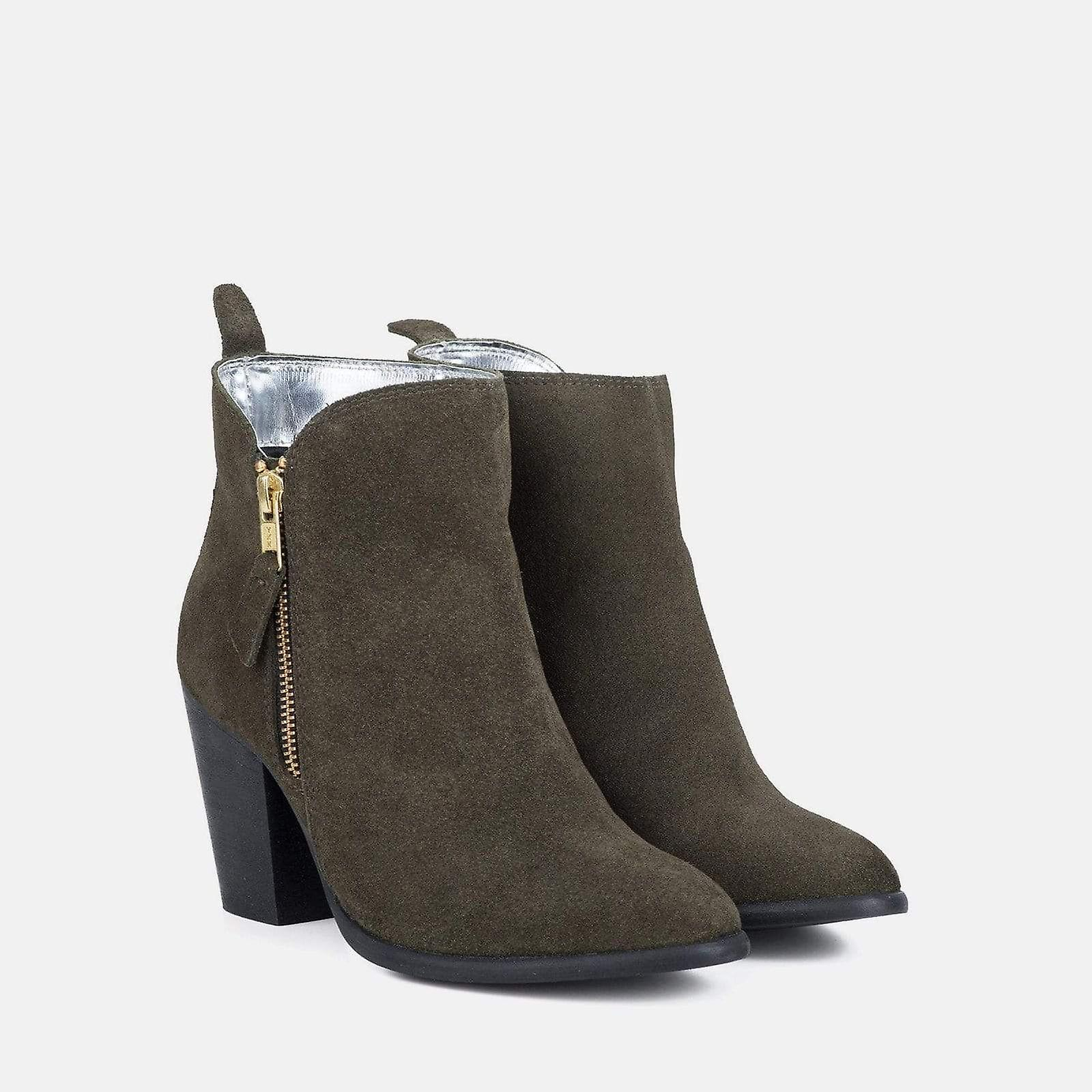Genevieve khaki suede ankle boot QrbYb