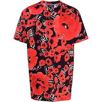 Les Hommes Lit252709p9005 Men's Zwart/rood Katoen T-shirt