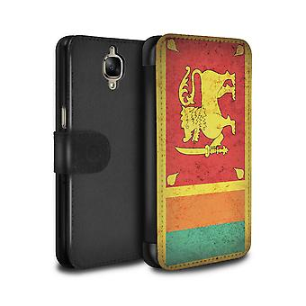 STUFF4 PU Leather Wallet Flip Case/Cover for OnePlus 3/3T/Sri Lanka/Sri Lankan/Asian Flag