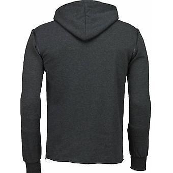 Casual Hoodie-Long Style Zipper-Dark grey