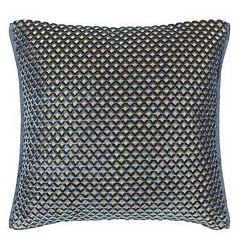Designers Guild Portland Geometric Cushion In Delft Blue