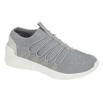 Cipriata Yvonne Ladies Stretch Slip On Casual Trainers Silver Fleck