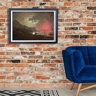 Joseph Wright - una vista del Vesubio desde el Posillipo cartel impresión Giclee