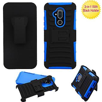 ASMYNA Advanced Armor Case w/ Holster pour T-Mobile Revvl 2 Plus/7 Folio - Black/Dark Blue