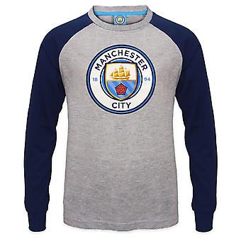 Manchester City FC Officiële Voetbal Cadeau Kids Crest Lange Mouw Raglan T-shirt