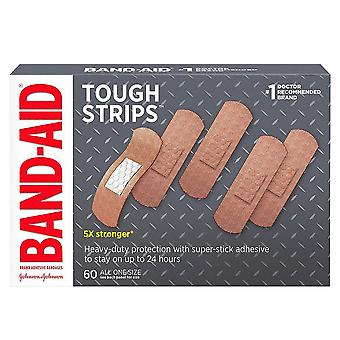 Band-aid tough strips adhesive bandages, all one size, 60 ea