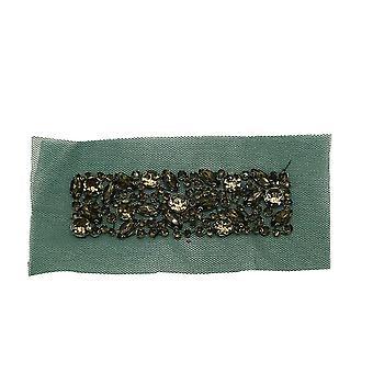 Vintage Stile Verde Pizzo Applique con Vetro Diamante