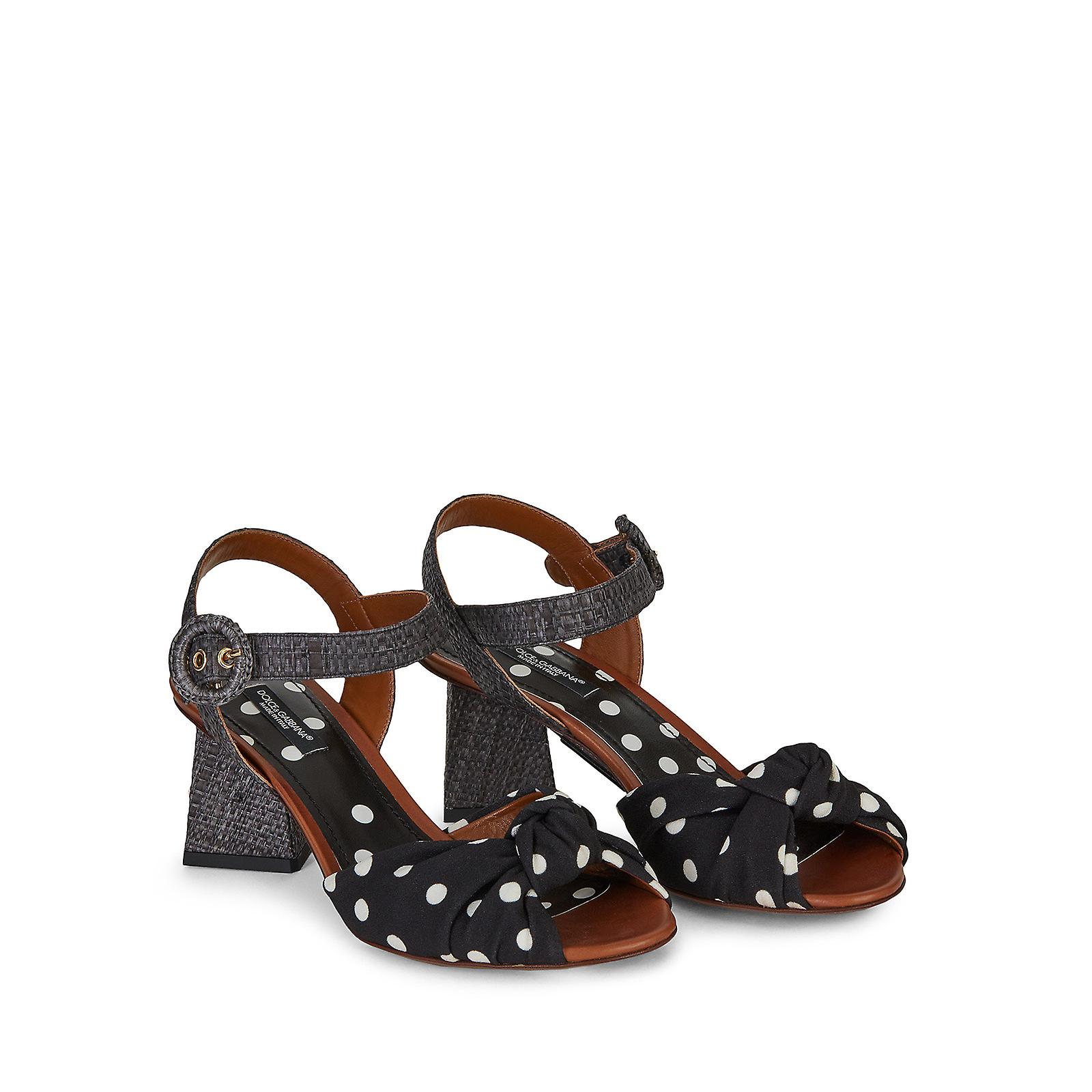 Dolce & Gabbana Mid Block Heel Sandal In Black And White Pois Printed Fabric QvFTv