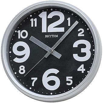 Rhythm 7890/7 Wall Clock Table Clock Quartz analoog zwart grijs stil rond zonder te tikken