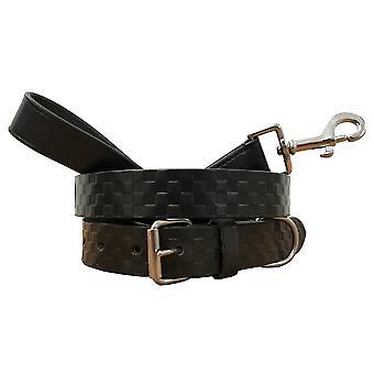 Bradley crompton genuine leather matching pair dog collar and lead set bcdc5black