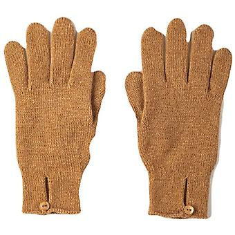 Johnstons of Elgin Button Loop Cashmere Gloves - Camel Brown