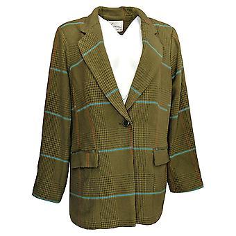 Linea by Louis Dell'Olio Women's Blazer Plaid Boyfriend Green A377582
