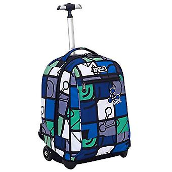Big Trolley Appack - ICON SET- Green Blue - 35 Lt - 2in1 Retractable Shoulder Backpack - School & Travel