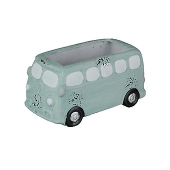 Distressed Pale Blue Painted Vintage Surfer Bus Ceramic Planter