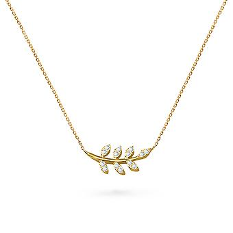 Necklace Leaf of Hope 18K Gold and Diamonds - Yellow Gold