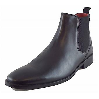 Base London Mens Cheshire Black Waxy Premium Leather Chelsea Boots