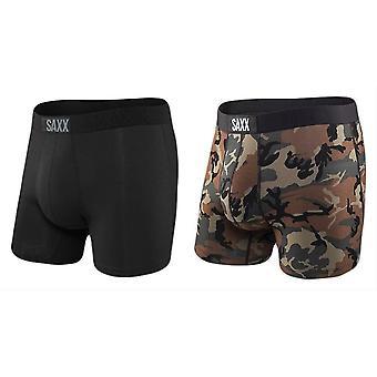 Saxx Underwear Co Vibe 2 Pack Boxer Brief - Black/Wood Camo