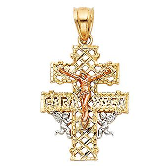 14 k Gelbgold Weißgold und Rose Gold Caravaca religiösen Glauben Kreuz Anhänger Halskette 16x25mm Schmuck Geschenke für Frauen