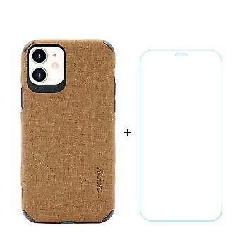 Voor iPhone 11 Case Denim Texture Brown Cover & Tempered Glass Screen Protector
