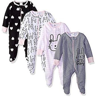 Gerber Baby Girls' 4-Pack Sleep N' Play, Bunny, 3-6 Months