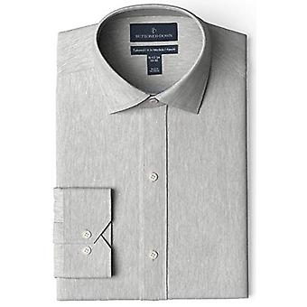 """BUTTONED DOWN Men's Tailored Fit Spread-Collar Solid Non-Iron Dress Shirt, Medium Grey Heather 15.5"""" Neck 33"""" Sleeve"""