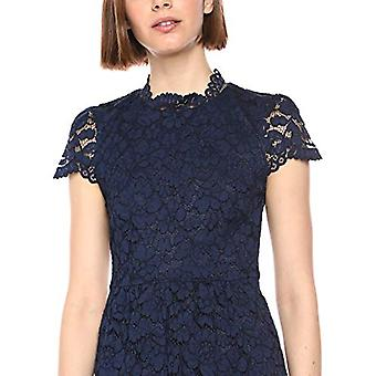 Lark & Ro Women's Cap Sleeve Lace Dress with Scallop Details, Navy 4