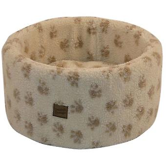 Danish Design Paw Print Cream Cat Cosy Bed - Small (42cm)