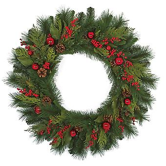 Autograph Foliages Christmas Wreath Mixed Hapmpton Pine Wreath With Pine Cone Berries And Balls