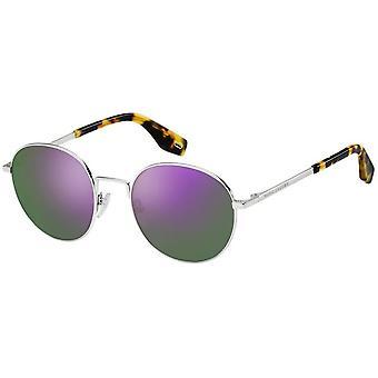 Sunglasses Men's Round Silver/Violet Men's