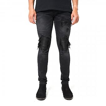Amicci Milazzo Skinny Fit Stretch Schwarz Denim Rip & repariert Jeans
