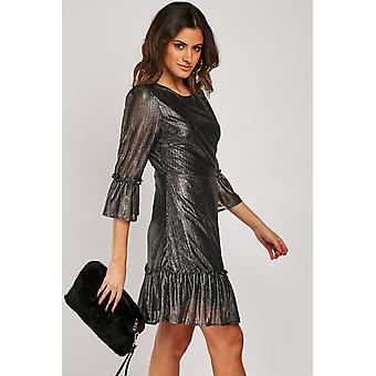 Metallic Ruffle Hem Dress