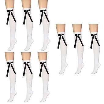 女性&アポスの白と弓の上に膝のハイコスチュームソックス 4-6 英国