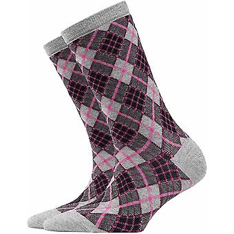 Burlington Ladywell Rhomb Socks - Fume Grey/Pink