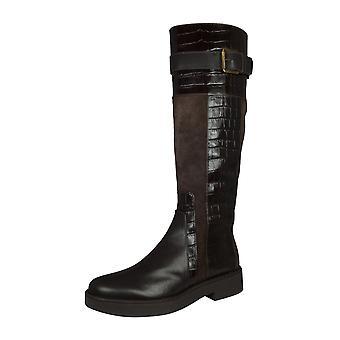 Geox D Adrya A Damen Leder hohe Stiefel - braun