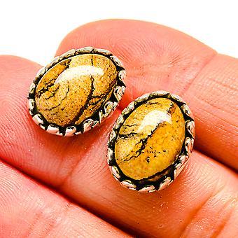"""Picture Jasper Earrings 3/4"""" (925 Sterling Silver)  - Handmade Boho Vintage Jewelry EARR407984"""