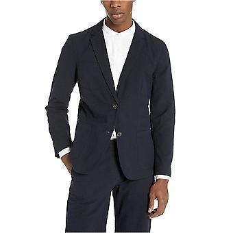 Goodthreads Men's Slim-Fit Seersucker Blazer, White/Blue, X-Small