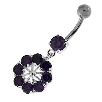 Purple Crystal Stone Fancy 8 CZs  Wheel Shape Dangling Sterling Silver Belly Bars Piercing