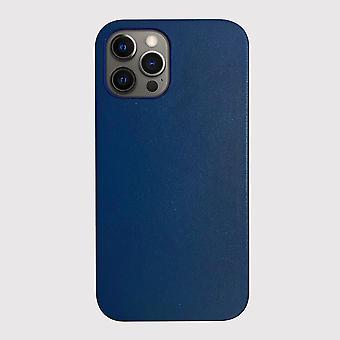 Äkta läder Blå iPhone 12 Pro-fodral med magnetisk ring för MagSafe trådlös laddning