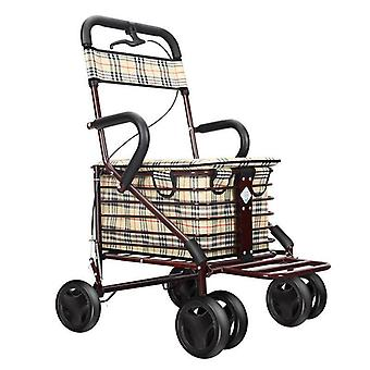 Scooter Folding Shopping Cart With Seat Four-wheeled Grocery Push Trolley