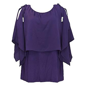 Belle By Kim Gravel Women's Plus Top Double Layer Blouse Purple A310230