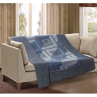 Spura Home Montana Cabin Blue & Gray Quilted Throw