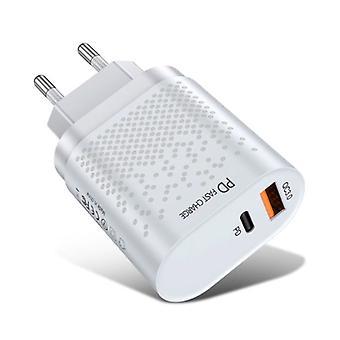 USLION 2 יציאות מטען USB - 36W PD טעינה מהירה / טעינה מהירה 3.0 - מטען תקע בקיר WALLCHARger AC מטען הביתה מתאם לבן