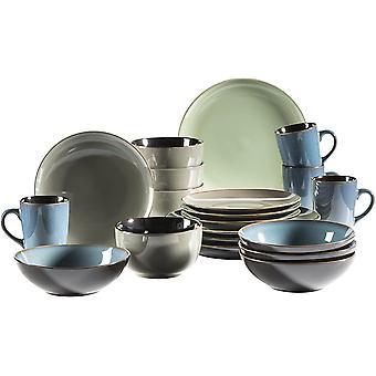 Mser Scuro Series 20-Piece Ceramic Crockery Set Blue/Green/Grey
