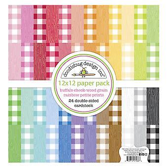Doodlebug Design Buffalo Check-Woodgrain Regenbogen Petite Drucke12 x 12 Zoll Papier Pack