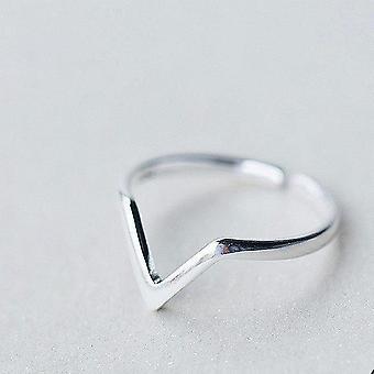 925 Sterling Silver Geometric Wave Letter V Adjustable Ring
