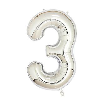 "Silver foil party balloon - 80cm (32"") - number 3"