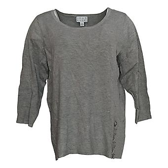 Joan Rivers Women's Sweater Scoop Neck With Lace Up Detail Gray A309778