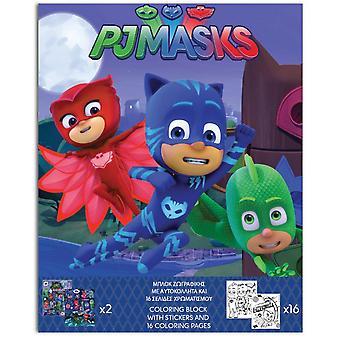 Kleurplaat En Stickers Pj Maskers 25 Cm Blauw 17-Delig