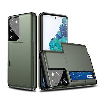 VRSDES Samsung Galaxy Note 10 - Funda de la cubierta de la ranura de la tarjeta cartera caja de la caja del negocio verde oscuro