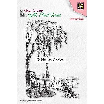 Nellie's Choice Clear Stamp - Idyllic Floral - Seating With Tree 95x138mm